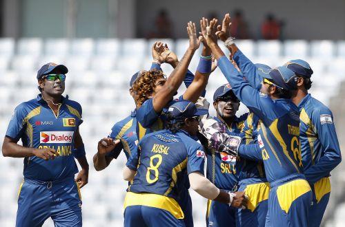 Sri Lanka's Lasith Malinga celebrates after picking up a wicket