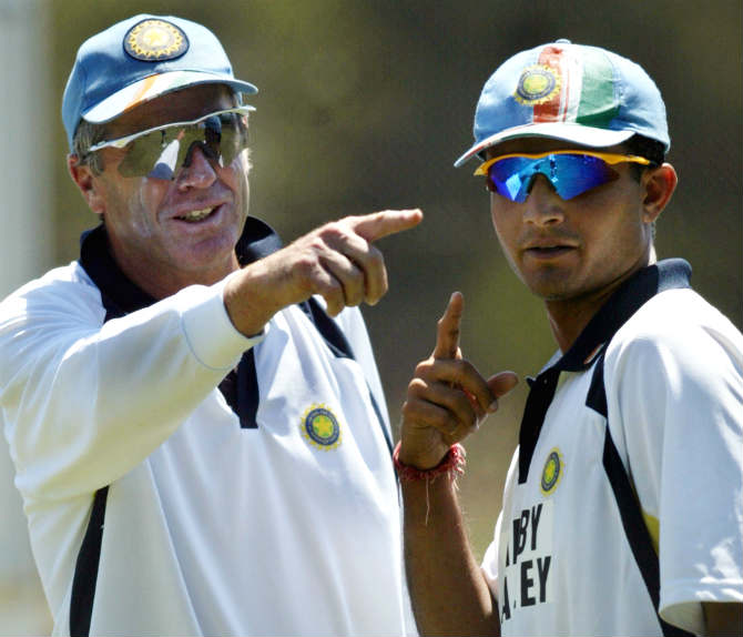 Former India captain Sourav Ganguly (right) with John Wright