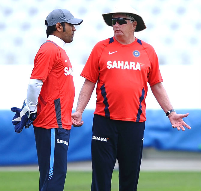 India coach Duncan Fletcher, right, with captain Mahendra Singh Dhoni.