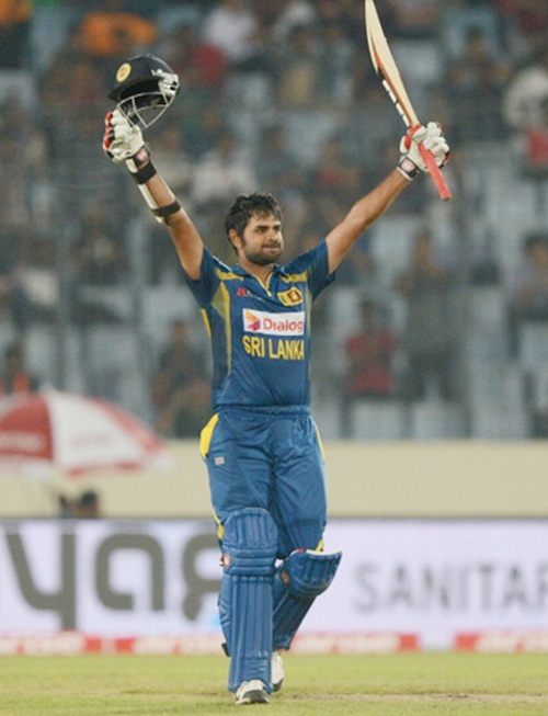 Sri Lanka's Lahiru Thirimanne celebrates.