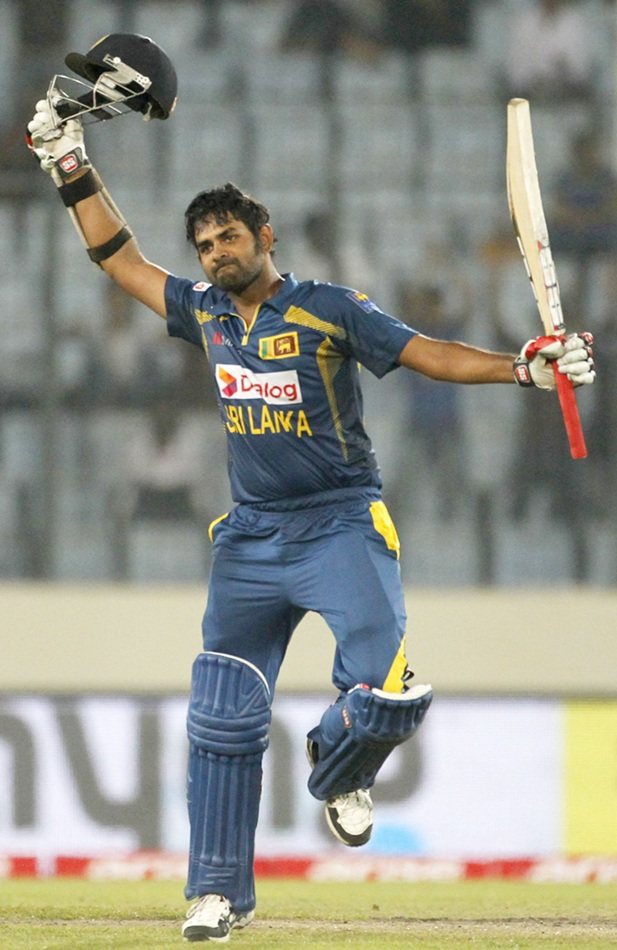 Sri Lanka's Lahiru Thirimanne celebrates after scoring a century against Pakistan.
