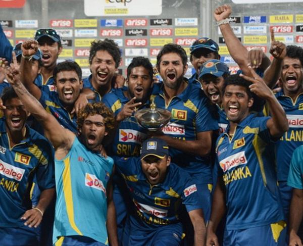 A jubilant Sri Lankan team.