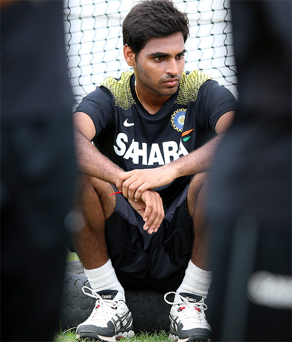 Bhuvneshwar Kumar during a nets session of Team India