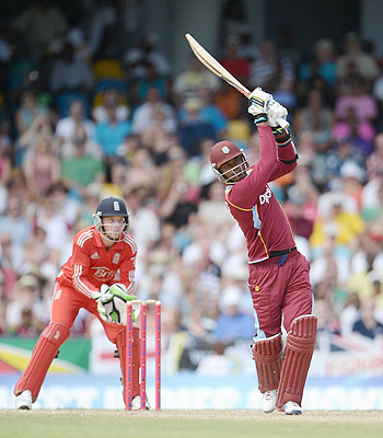 Marlon Samuels of the West Indies bats during the 1st T20 International against England at Kensington Oval on Sunday