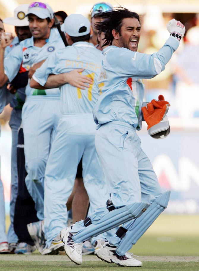 Mahendra Singh Dhoni celebrates with his team mates after winning the ICC World T20 2007 final against Pakistan in Johannesburg.