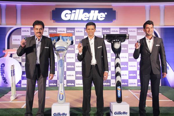 Cheteshwar Pujara (right) with former India batting icons Dilip Vengsarkar and Rahul Dravid (centre) at the launch of Gillette's first ever special edition India razors in Mumbai on Friday