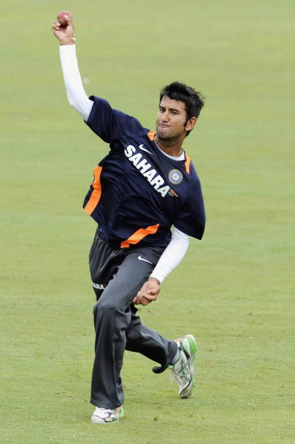 Cheteshwar Pujar bowls in the nets during a team training session at Supersport Park, Centurion, on December 14, 2010 in Pretoria, South Africa