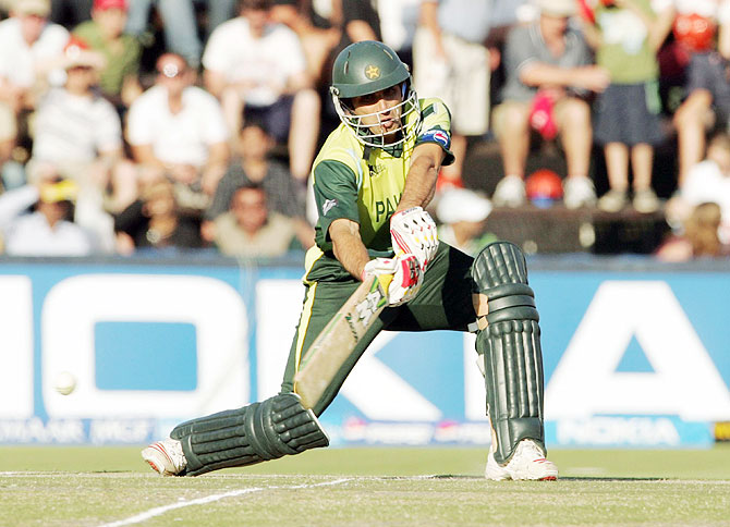 Misbah-ul-Haq in action in the final