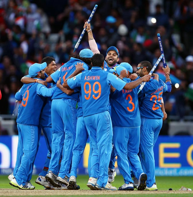 Team India celebrates after winning the ICC Champions Trophy in June 2013