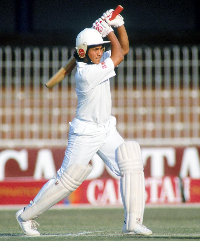 Sachin Tendulkar in action against Pakistan during a Test match in Lahore in October 1989.