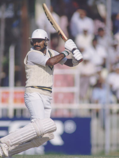 Javed Miandad of Pakistan in action at the Sharjah Cricket Association Stadium