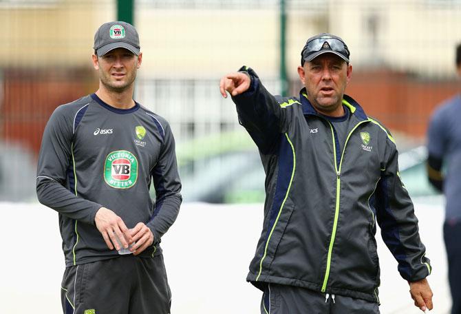 Australian captain Michael Clarke and coach Darren Lehmann