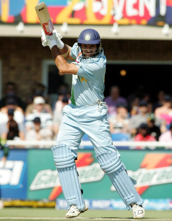 Yuvraj Singh of India in action during the 2007 ICC Twenty20 World Cup