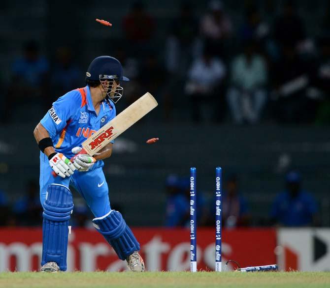 Gautam Gambhir is clean bowled