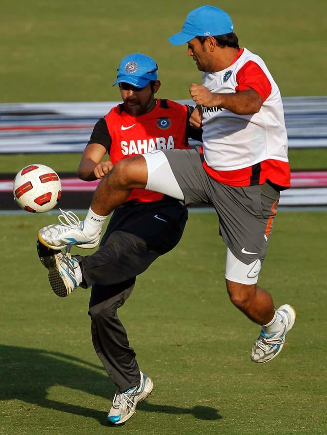 Gautam Gambhir and MS Dhoni play football