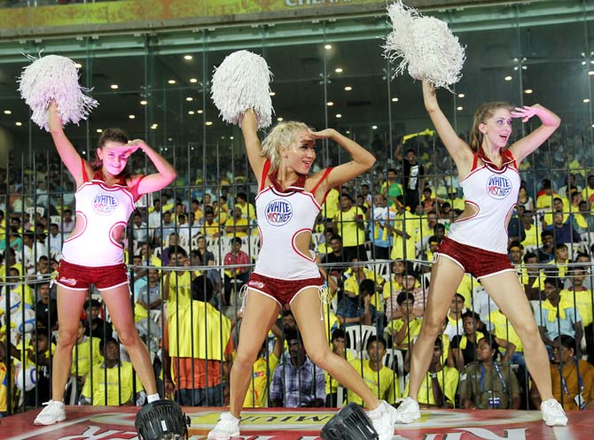 The cheerleaders in action during the IPL