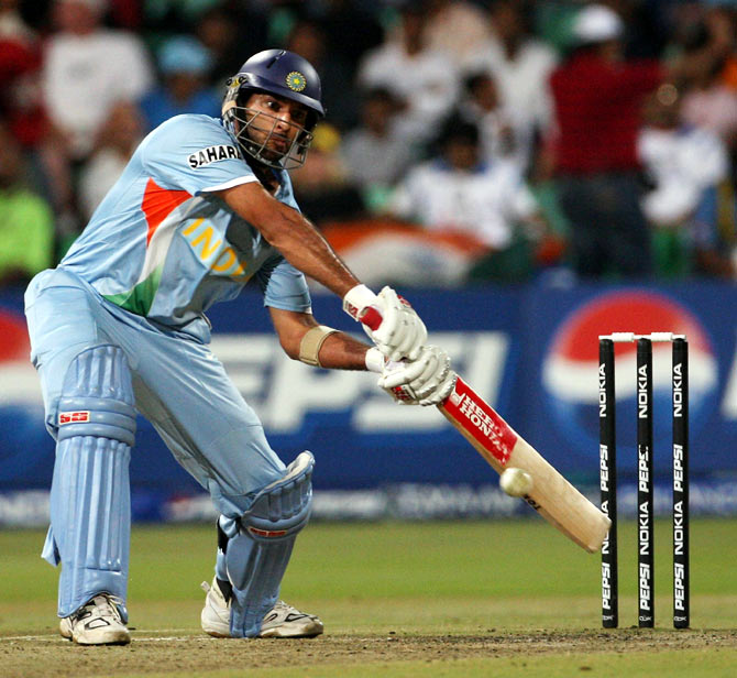 Yuvraj Singh during the semi-final against Australia.