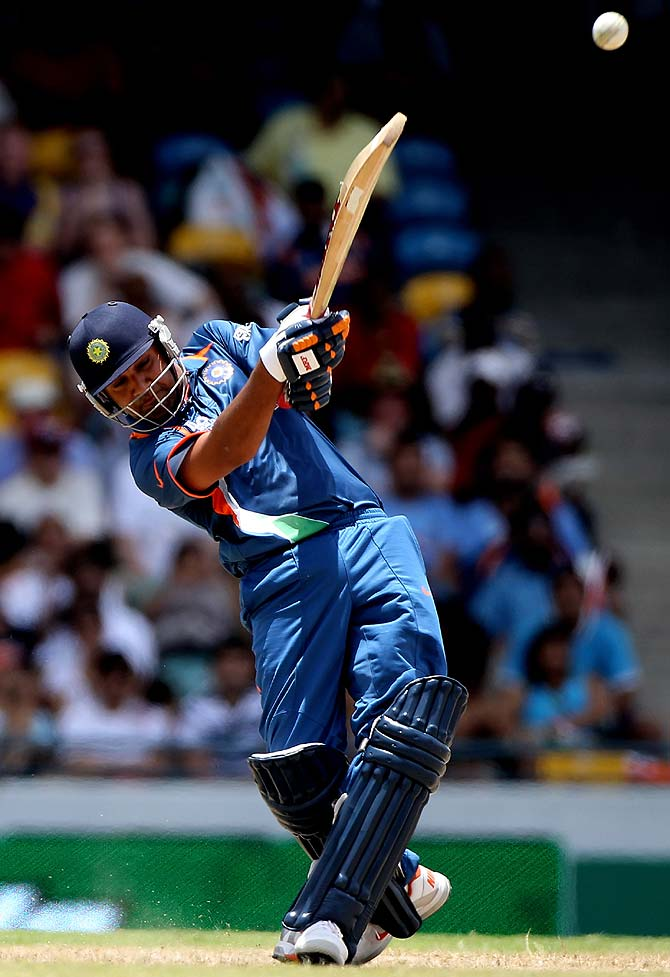 Rohit Sharma in action during the game against Australia in Bridgetown.