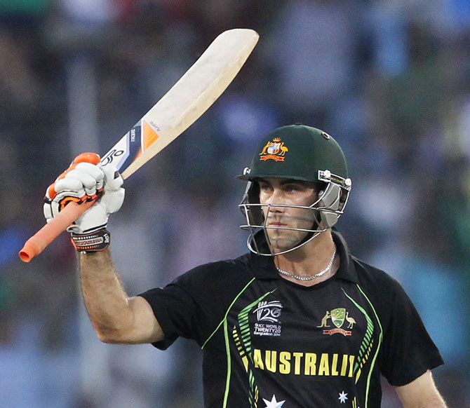 Australia's Glenn Maxwell celebrates after scoring a half century against Pakistan