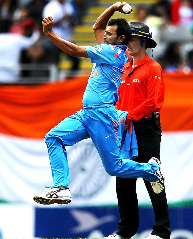 Mohammed Shami of India bowls