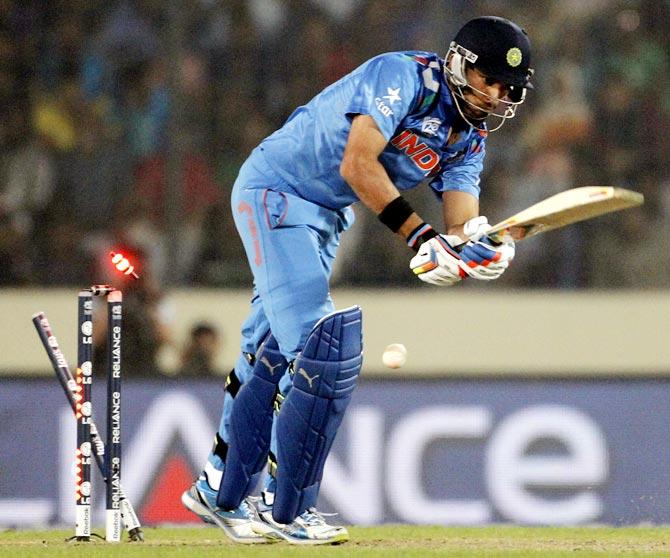 Yuvraj Singh is bowled