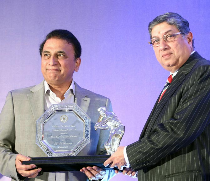 Sunil Gavaskar (left) with N Srinivasan