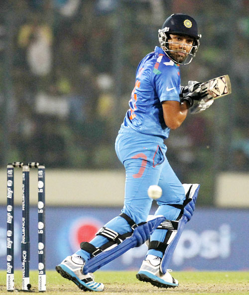 India's Rohit Sharma in action against Bangladesh