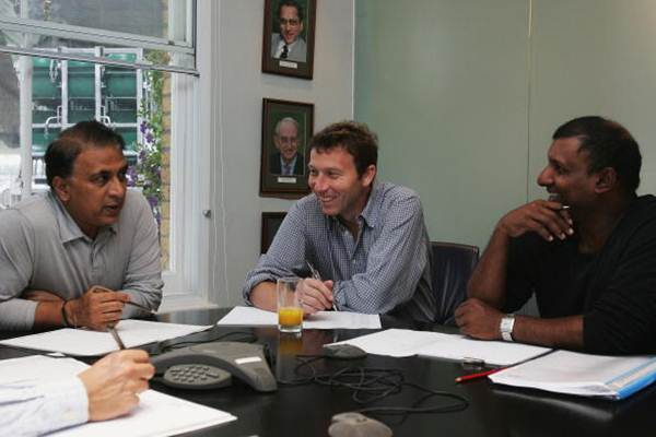 Sunil Gavaskar, Michael Atherton of England and Aravinda de Silva of Sri Lanka discuss the selection of the ICC World XI players for the Johnnie Walker Super Series in Australia, at Lord's Cricket Ground on June 29, 2005.