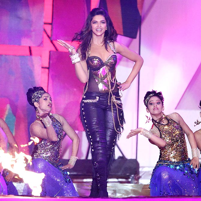 Deepika Padukone performs during the opening ceremony of the sixth edition of Indian Premier League.