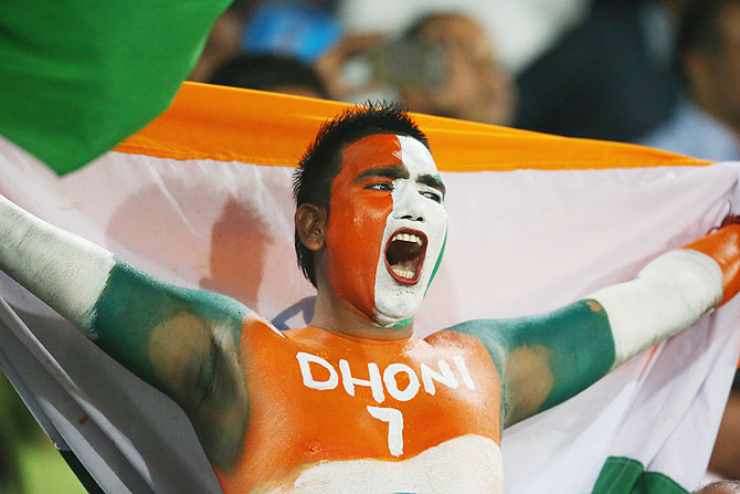An Indian fan shows his support in the crowd during the ICC World Twenty20 Bangladesh 2014 match between West Indies and India at Sher-e-Bangla Mirpur Stadium on Friday