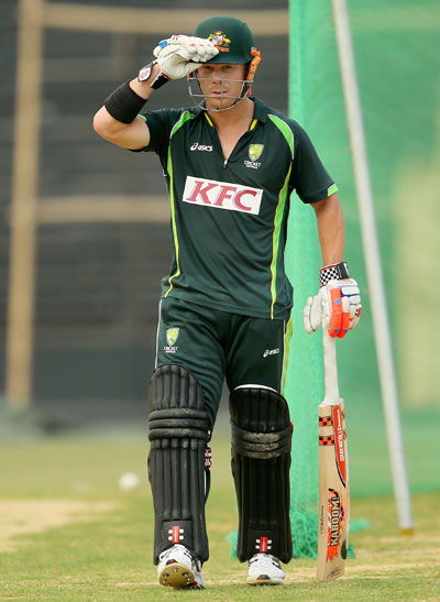 David Warner of Australia during a training session
