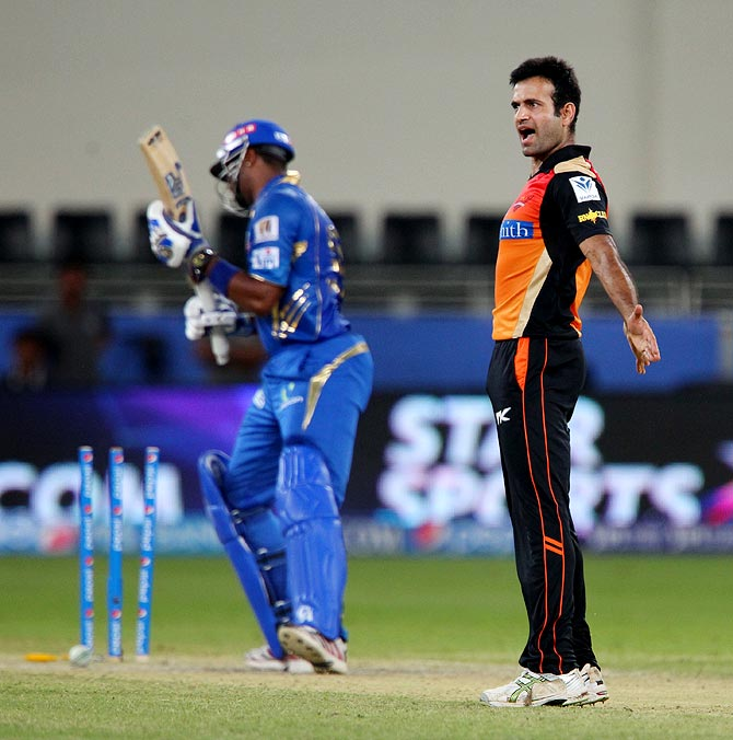 Irfan Pathan celebrates the wicket of Kieron Pollard