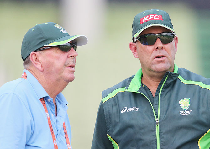 Australia's selector Rod Marsh and coach Darren Lehmann