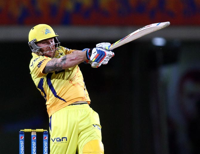 Brendon McCullum swats a delivery to the boundary