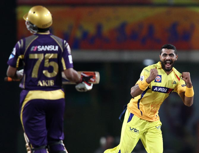 Ravindra Jadeja (right) celebrates the wicket of Surya Kumar Yadav