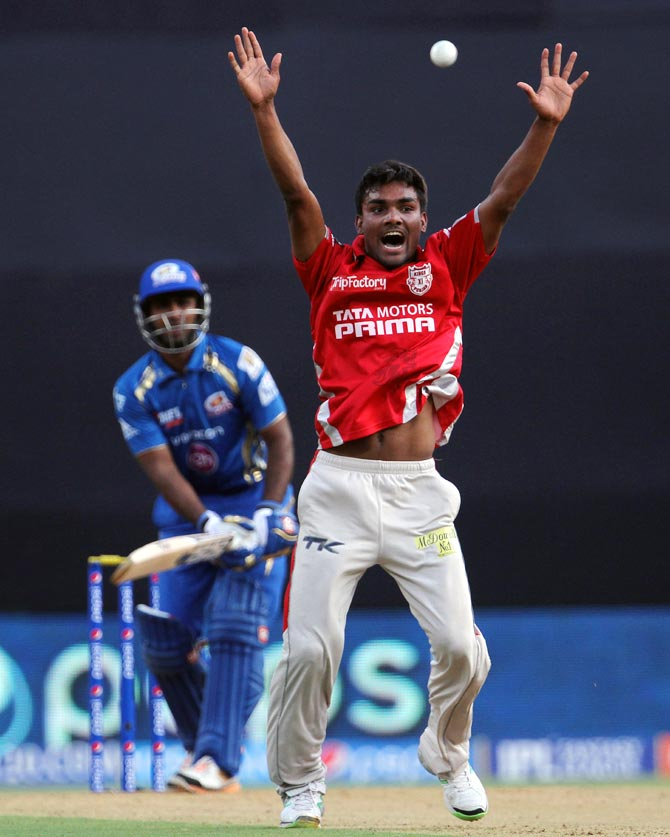 Sandeep Sharma appeals successfully for the wicket of Ambati Rayudu