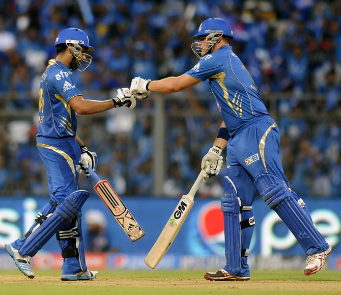 Rohit Sharma (left) with Corey Anderson