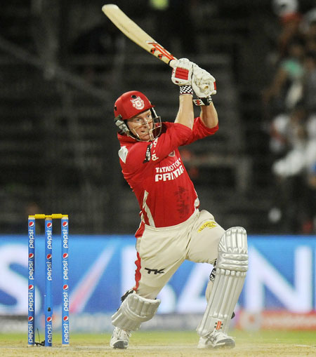 George Bailey of Kings XI Punjab hits a shot