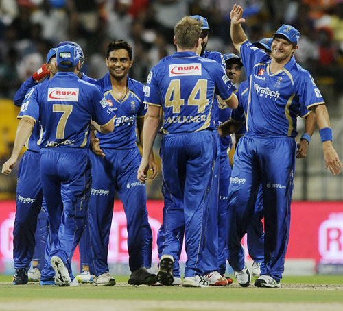 Rajasthan Royals players celebrate the fall of a wicket