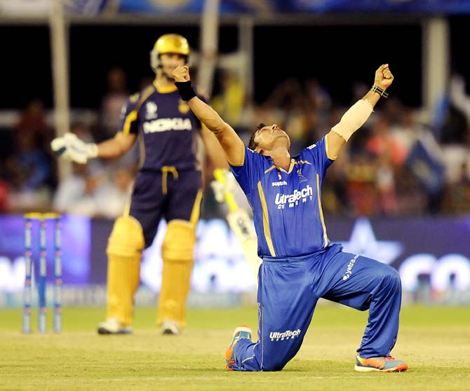 Pravin Tambe celebrates after taking the wicket of Ryan ten Doeschate to complete his hat-trick