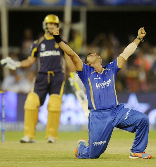 Pravin Tambe celebrates his hat-trick against Kolkata