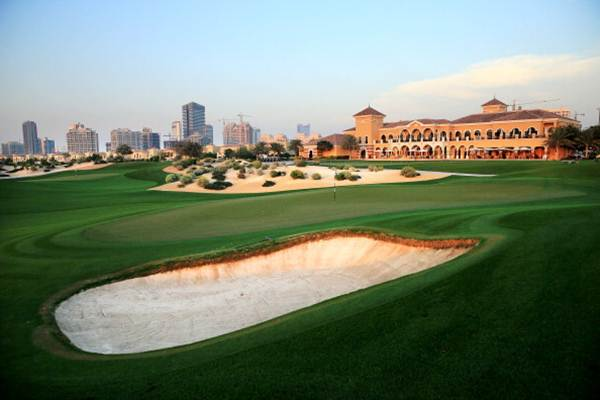 The green on the par 5, 18th hole at the Els Club in Dubai, United Arab Emirates