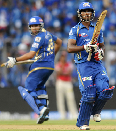 Mumbai Indians pair of Rohit Sharma and C Gautam steal a single