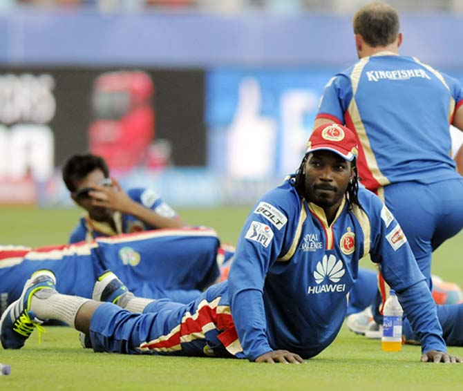 Chris Gayle during a Bangalore training session