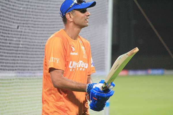 Rahul Dravid during a Rajasthan Royals practice session.