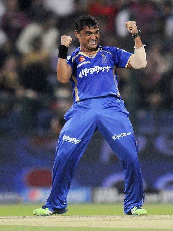 Rajasthan Royals spinner Pravin Tambe celebrates after taking the wicket of Chennai Super Kings captain Mahendra Dhoni in the UAE leg of the IPL.