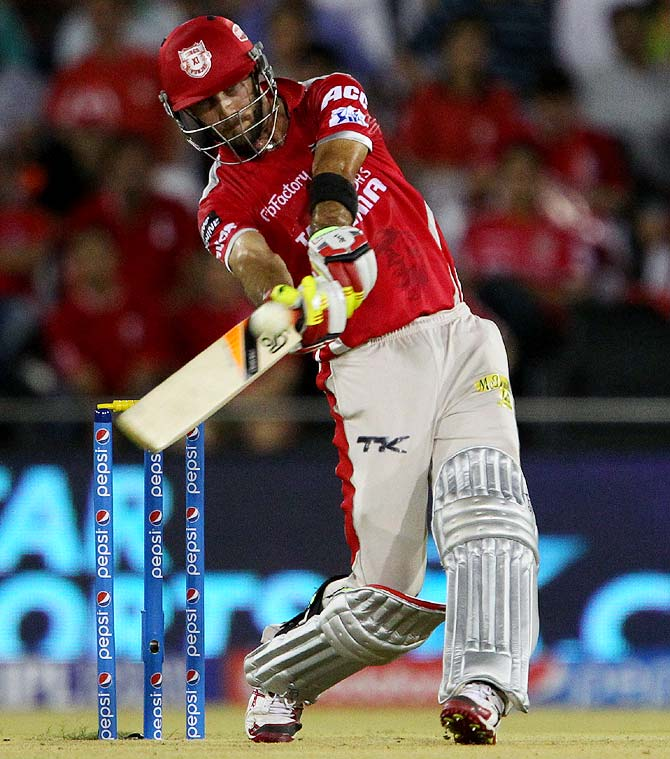 Glenn Maxwell of Kings XI Punjab hits a shot