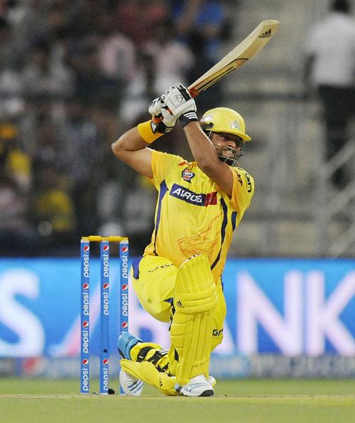 Suresh Raina of Chennai Super Kings hits a shot