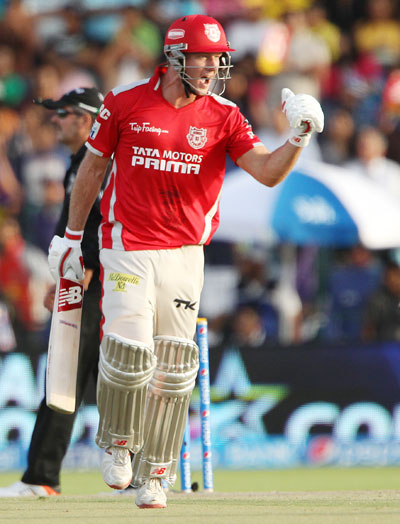 David Miller of Kings XI Punjab celebrates scoring a fifty