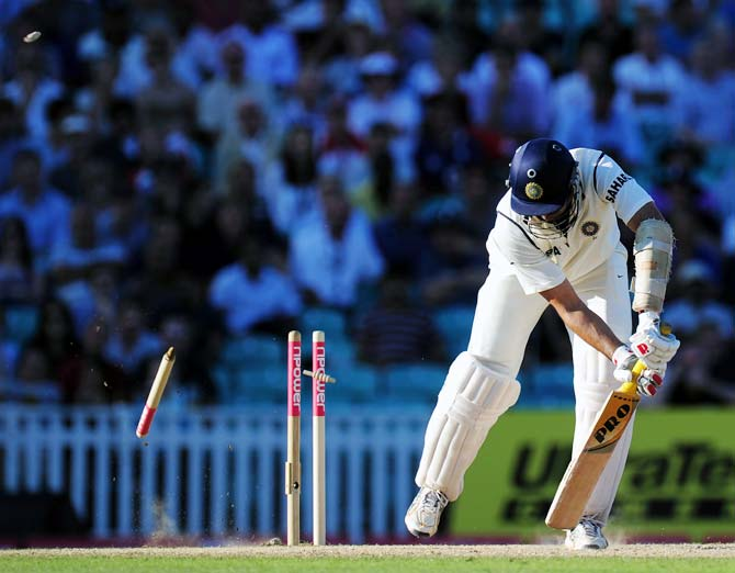 VVS Laxman is bowled by James Anderson during the fourth Test match at the Oval in London, on August 21, 2011.